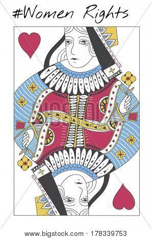 Women Rights Queen Card Concept