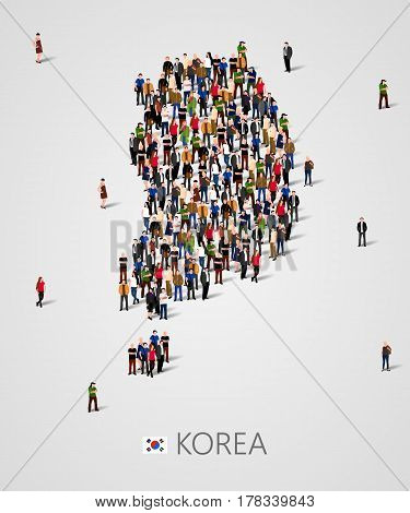 Large group of people in South Korea map form. Population of South Korea or demographics template. Background for presentation. Vector illustration