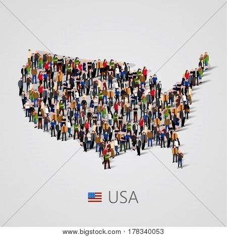 Large group of people in United States of America or USA map with infographics elements. Usa map with chart, statistic and visualization templates. Background for presentation. Vector illustration