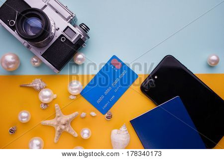 Accessories For Travel Top View On Colored Background With Copy Space. Adventure And Wanderlust Conc