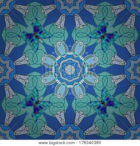 Arabesque. Vector circular abstract mandalas pattern. Round ornament with intertwined branches flowers and curls. Colored Mandala on a white baqckground.