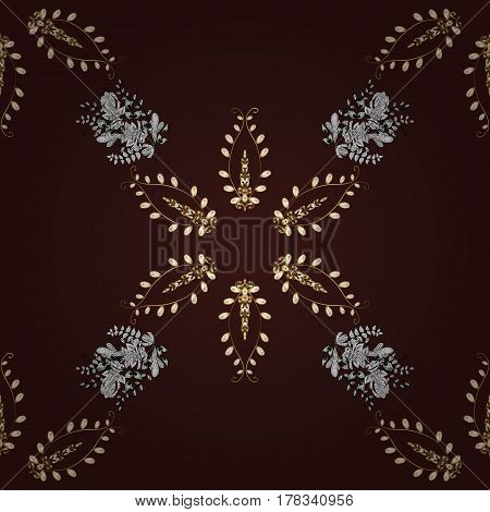 Vector golden pattern. Seamless golden textured curls in oriental style arabesques. Golden pattern on brown background with white doodles.