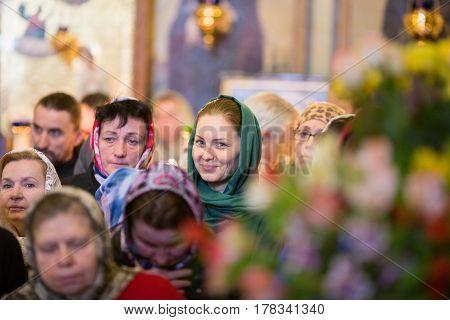 Kiev, Ukraine - 22 March 2017: The Divine Liturgy At The Kiev Holy Presentation Monastery. A Parishi