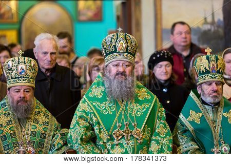 Kiev, Ukraine - 22 March 2017: The Divine Liturgy At The Kiev Holy Presentation Monastery. Metropoli