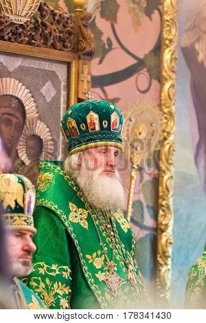 Kiev, Ukraine - 22 March 2017: The Divine Liturgy At The Kiev Holy Presentation Monastery. Bishop Da