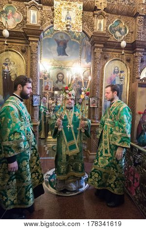 Kiev, Ukraine - 22 March 2017: The Divine Liturgy At The Kiev Holy Presentation Monastery. Archbisho