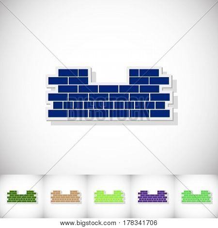 Brickwork. Flat sticker with shadow on white background. Vector illustration
