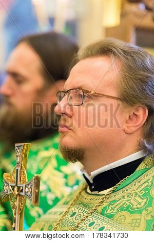Kiev, Ukraine - 22 March 2017: The Divine Liturgy At The Kiev Holy Presentation Monastery. Priest In