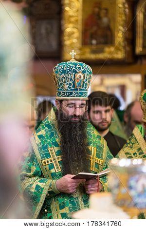 Kiev, Ukraine - 22 March 2017: The Divine Liturgy At The Kiev Holy Presentation Monastery. Bishop Va