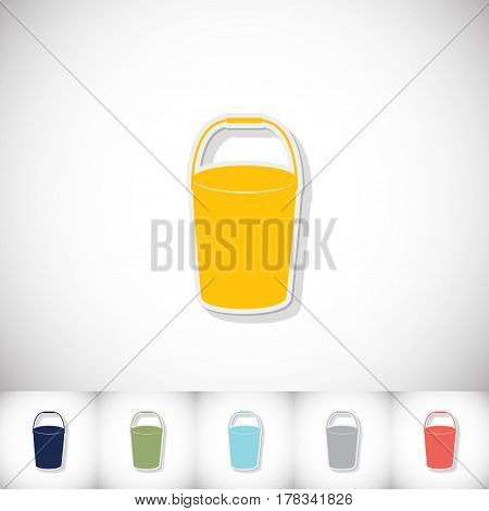 Bucket. Flat sticker with shadow on white background. Vector illustration