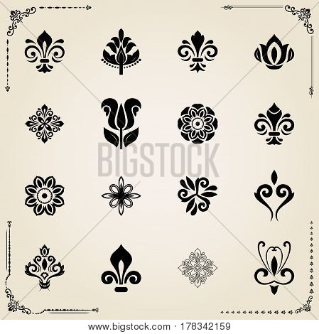 Vintage set of classic elements. Different elements for decoration and design frames, cards, menus, backgrounds and monograms. Collection of floral ornaments