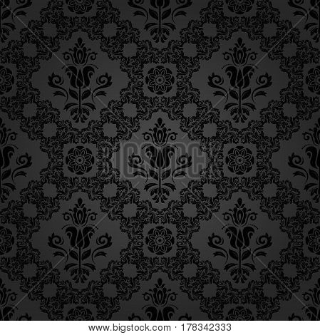 Seamless baroque dark pattern. Traditional classic orient ornament