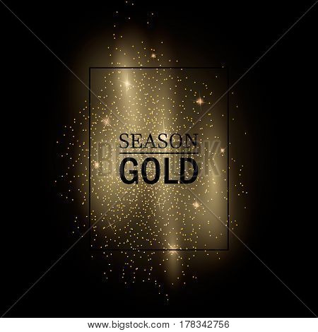 Abstract vector stippling gold frame Gold shining background. Glitter template