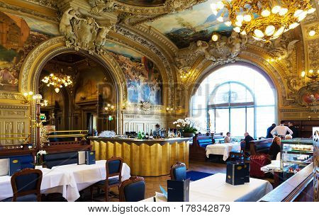 ParisFrance-March 25 2017: The famous gastronomic restaurant Le train Bleu located at the heart of the Gare de Lyon train station in Paris. It's an