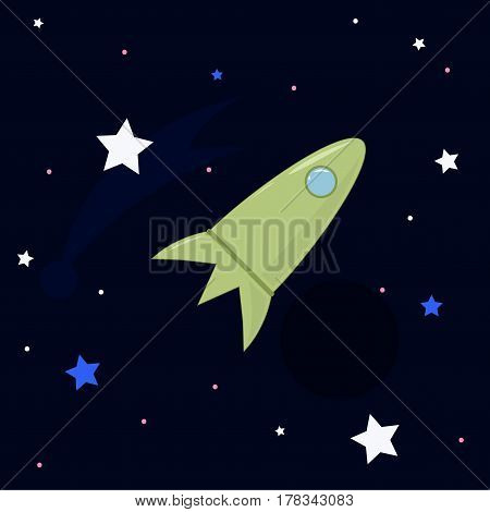 Vector cartoon illustration. Green rocket in space among the stars