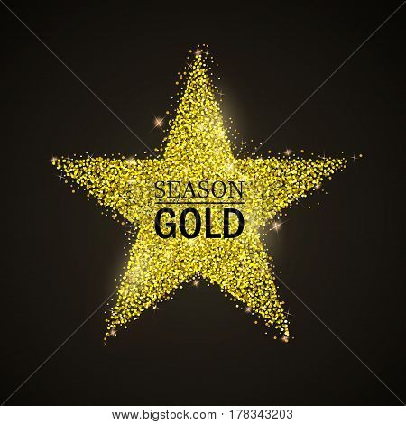Vector stippling gold  star. Gold shining background. Glitter star
