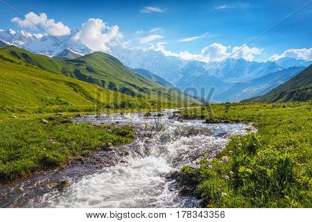 Beautiful mountain stream with colorful stones on the shore stretched among large mountains and forests. Upper Svaneti Georgia Europe. Happy lifestyle. Beautiful universe.