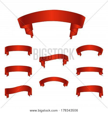 A set of 3D realistic red glossy vector ribbons. Banners for holidays or advertising. Vector illustration.