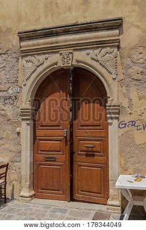 Rethymno, Greece - August  5, 2016:  Ancient Archway Portal.