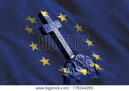 Gravestone with flag of European union as metaphor of disintegration and collapse of EU because of problems