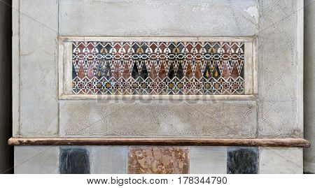 Architectural detail of a decorative mosaic colored panel Mosque of Sultan Qalawun Cairo Egypt