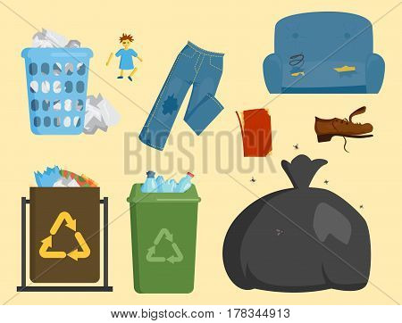 Recycling garbage elements trash bags tires management industry utilize concept and waste ecology can bottle recycling disposal box vector illustration. Eco pollution refuse service plastic.