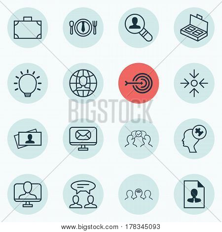Set Of 16 Business Management Icons. Includes Arrow, Cooperation, Cv And Other Symbols. Beautiful Design Elements.