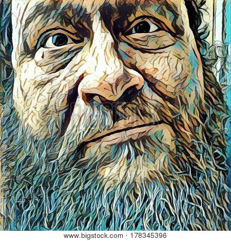 Illustration. Old man's face.