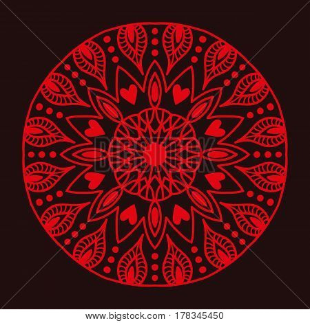 Henna tattoo red mehndi flower template doodle ornamental lace decorative element and indian design pattern paisley arabesque mhendi embellishment vector. Traditional decorative mandala element.