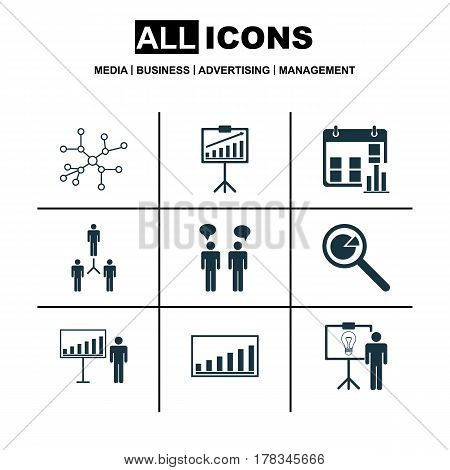 Set Of 9 Board Icons. Includes Company Statistics, Team Meeting, Presentation Date And Other Symbols. Beautiful Design Elements.