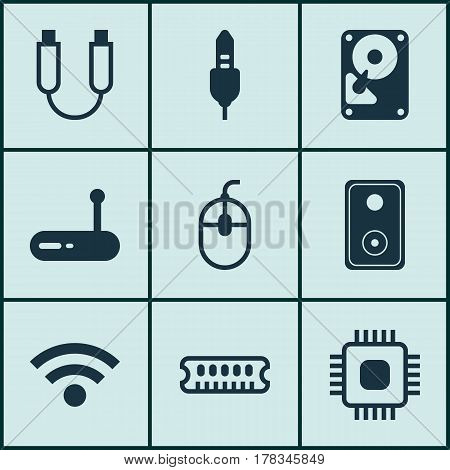 Set Of 9 Computer Hardware Icons. Includes Wireless, Hdd, Audio Device And Other Symbols. Beautiful Design Elements.