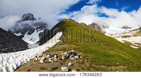 Incredible landscape with high rocky mountains with snowy. Upper Svaneti Georgia Europe. Happy lifestyle. Beautiful universe.