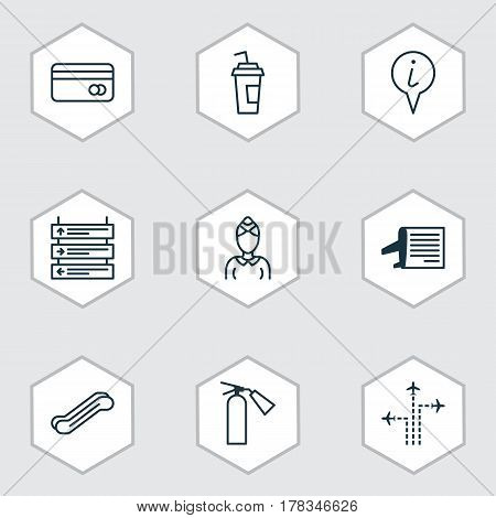 Set Of 9 Travel Icons. Includes Flight Path, Info Pointer, Stair Lift And Other Symbols. Beautiful Design Elements.
