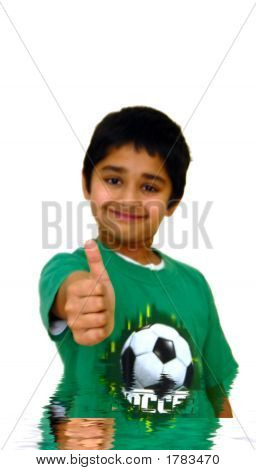 A Kid showing thumbs up isolated in a white background poster