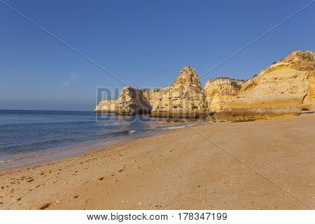 Marinha beach at sunset, Algarve Portugal