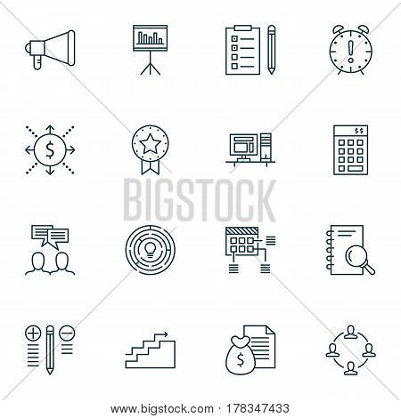 Set Of 16 Project Management Icons. Includes Decision Making, Innovation, Report And Other Symbols. Beautiful Design Elements.