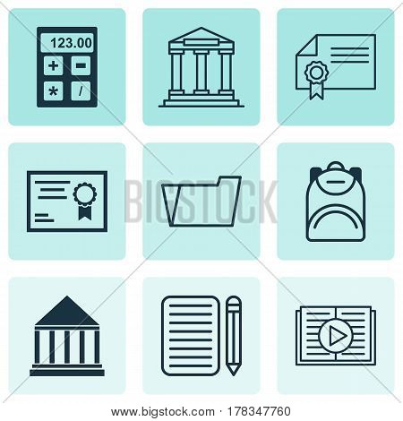 Set Of 9 School Icons. Includes Document Case, Taped Book, Electronic Tool And Other Symbols. Beautiful Design Elements.