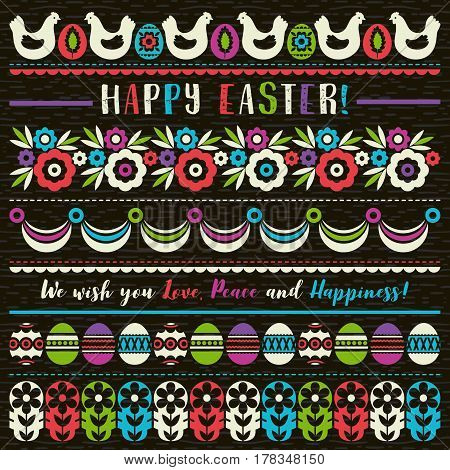 Easter greetings cards with color easter eggs flowers and hen. Ideal for printing onto fabric and paper or scrap booking vector illustration