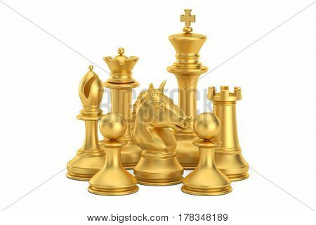 Golden chess figures 3D rendering isolated on white background