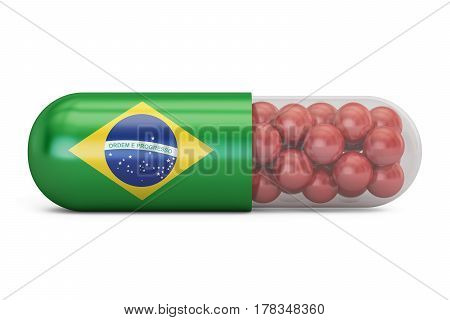 Pill capsule with Brazil flag. Brazilian health care concept 3D rendering