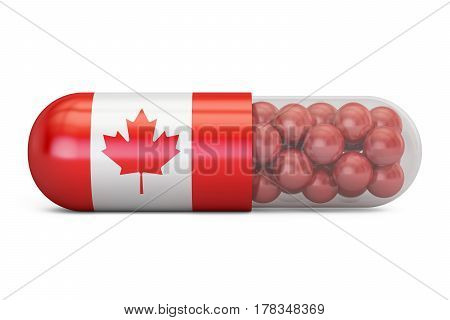 Pill capsule with Canada flag. Canadian health care concept 3D rendering