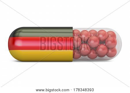 Pill capsule with Germany flag. German health care concept 3D rendering