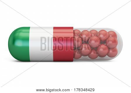 Pill capsule with Italy flag. Italian health care concept 3D rendering