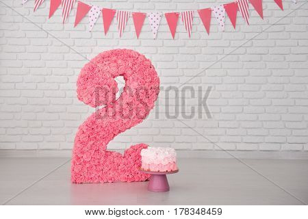 second birthday smash the cake decor for girl