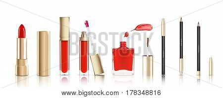 Beautiful cosmetic set in gold. lipstick, lip gloss, nail polish with smear and cosmetic eyeliner pelcil. Makeup realistic vector isolated on white