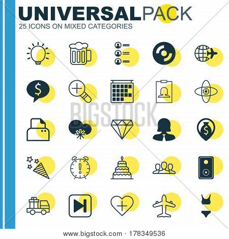 Set Of 25 Universal Editable Icons. Can Be Used For Web, Mobile And App Design. Includes Elements Such As Time Management, Money Navigation, Ale And More.