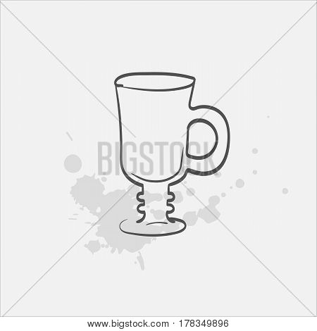 irish coffee glass footed hand drawn icon - vector illustration