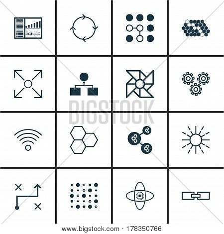 Set Of 16 Robotics Icons. Includes Controlling Board, Algorithm Illustration, Atomic Cpu And Other Symbols. Beautiful Design Elements.