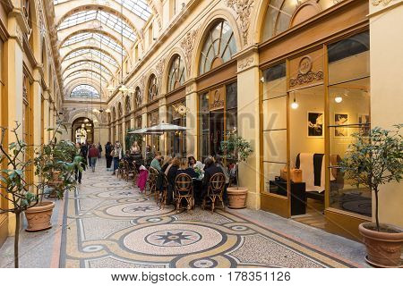 PARIS FRANCE - MARCH 25 2017: Galerie Vivienne (1823). Vivienne Covered Passage is 176 meters long with shops restaurants and tourist attraction.