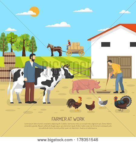 Farm animals composition with ward scenery poultry animals in farming and fattening with stock farmer characters vector illustration